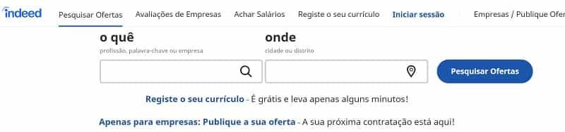 usar o site indeed para procurar vaga de emprego em portugal